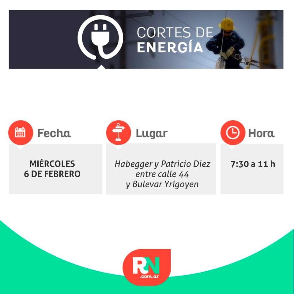 Programan un largo corte de energía para mañana miércoles 5 de febrero