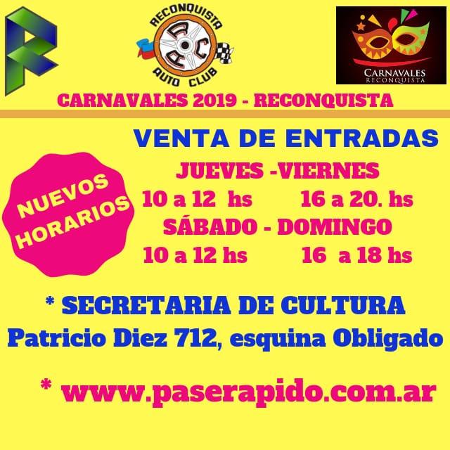 Nuevos horarios de venta de entradas para los Carnavales 2019