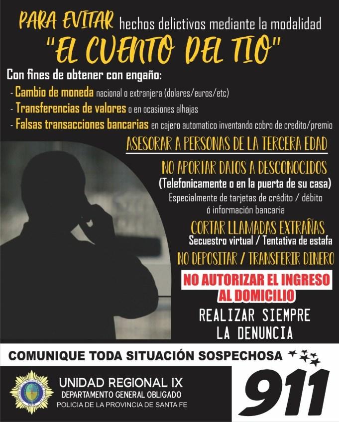"""La UR IX de Policía hace recomendaciones ante los casos del """"cuento del tío"""""""