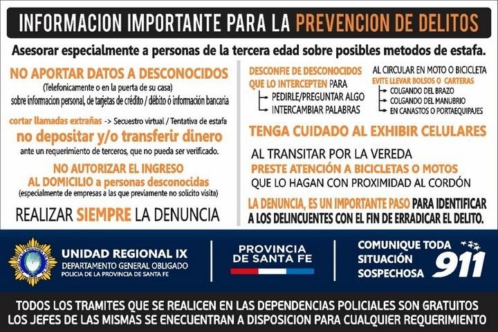 UR IX de Policía repartirá folletos con recomendaciones para prevenir delitos