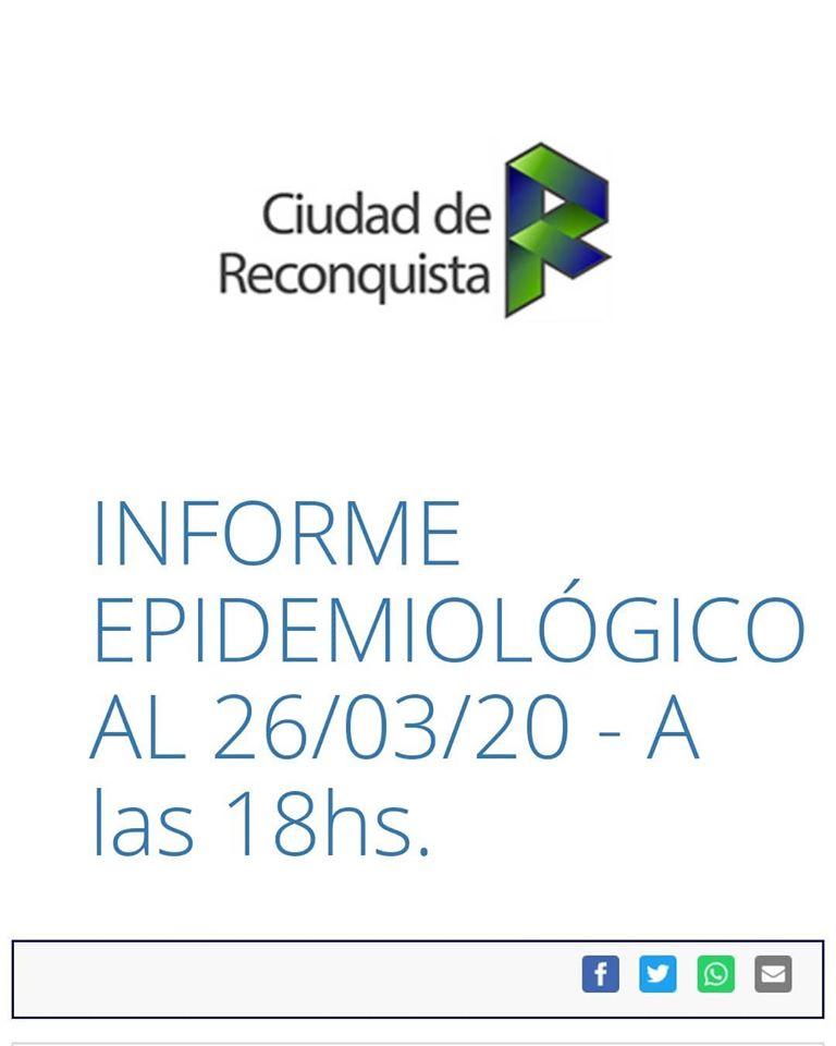Reconquista: informe epidemiológico al 26/03/2020 a las 18 h