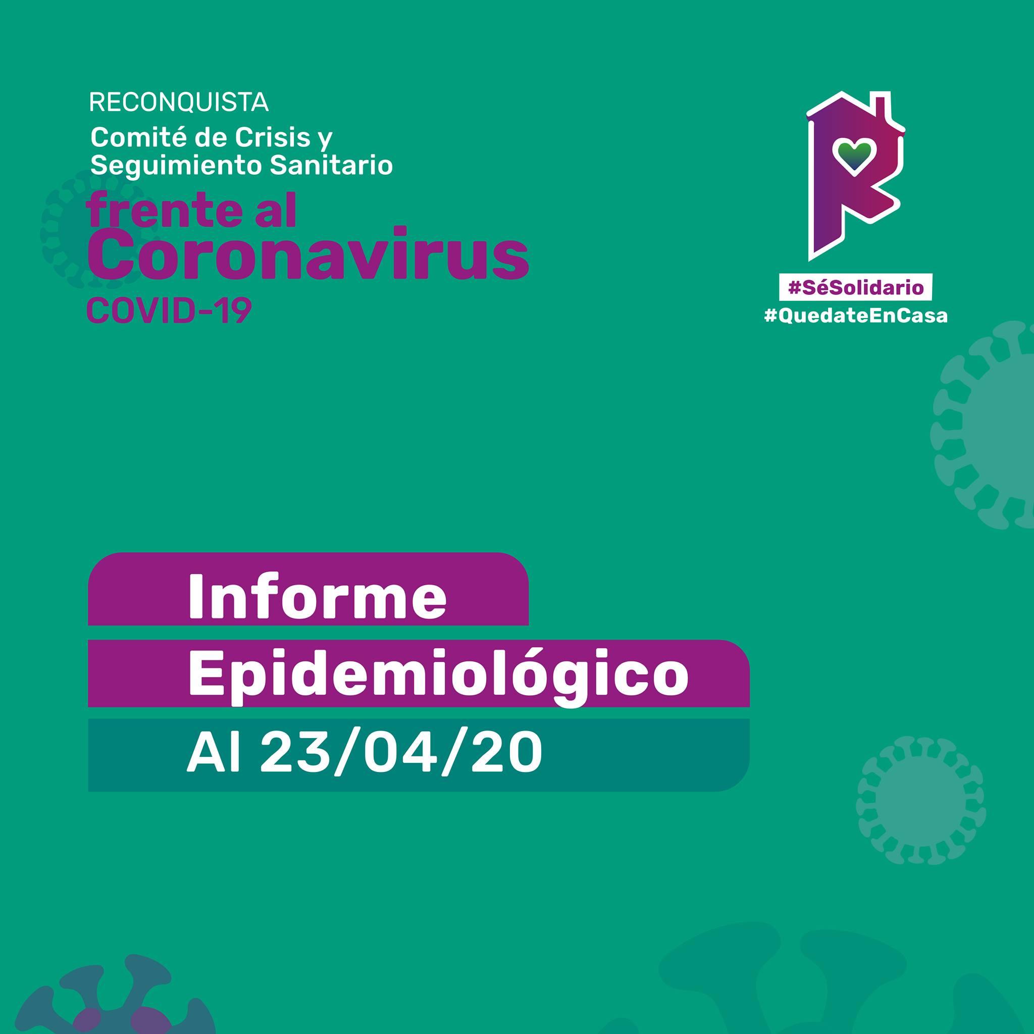 Reconquista: informe epidemiológico al 23 de abril a las 8 h