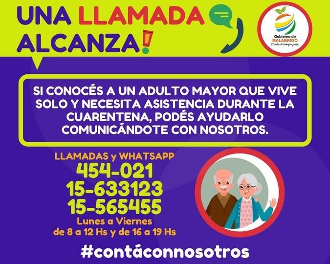 """Malabrigo: """"Una llamada alcanza!"""", iniciativa para ayudar a los adultos mayores"""