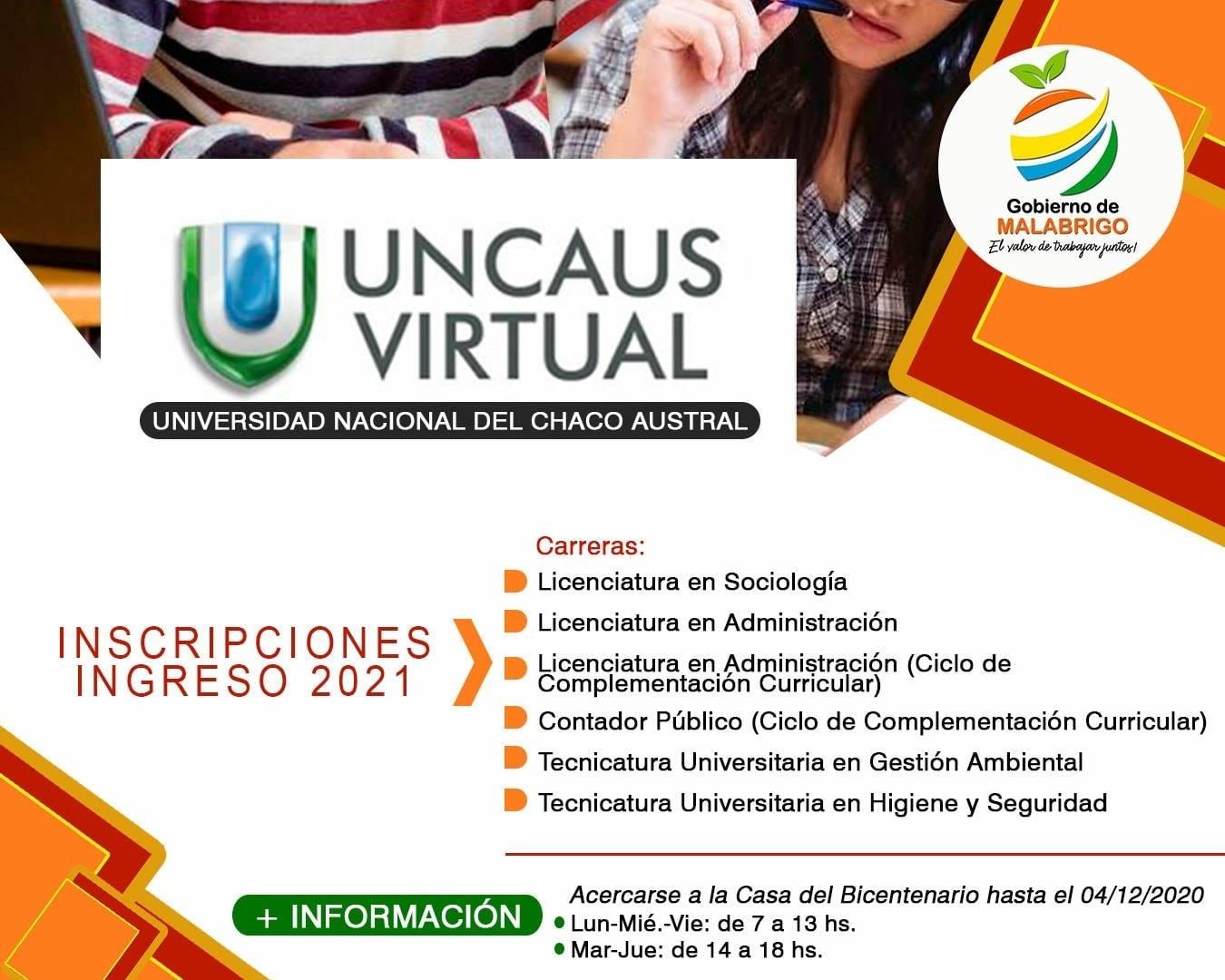 UNCAUS Virtual: abrió la inscripción para el ingreso 2021
