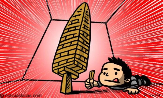 Rompe récord mundial apilando 518 bloques de Jenga sobre un solo bloque