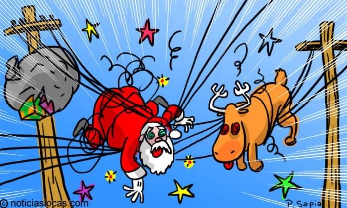 Bomberos rescatan Santa Claus volador atrapado en cables eléctricos