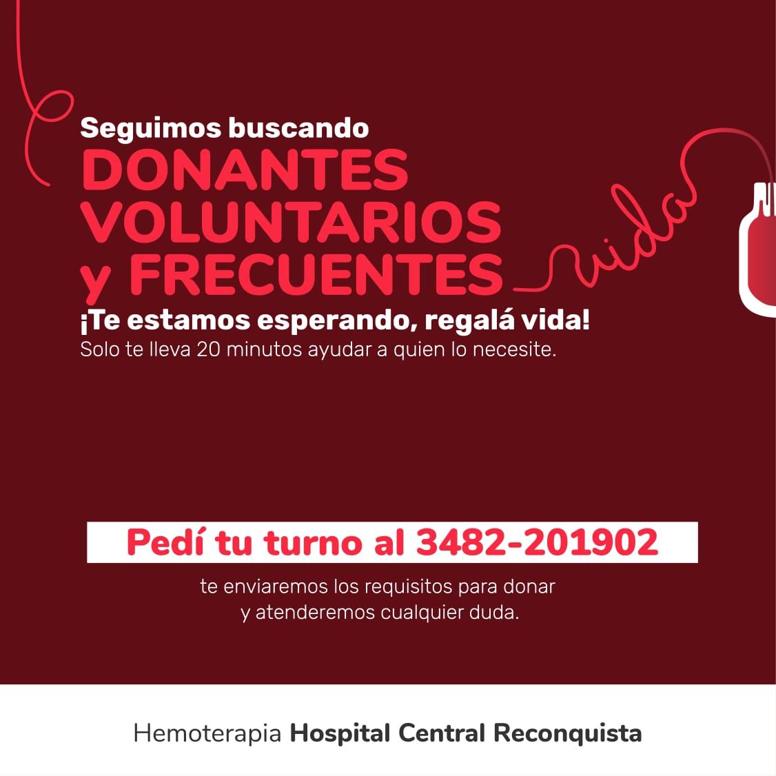 El Hospital Central Reconquista solicita donantes de sangre con urgencia