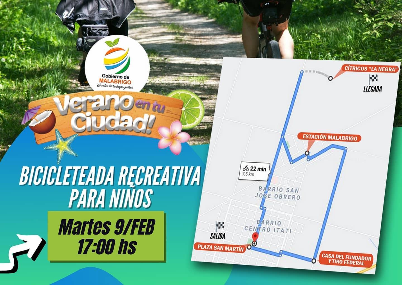 Malabrigo: hoy martes Bicicleteada Recreativa para Niños