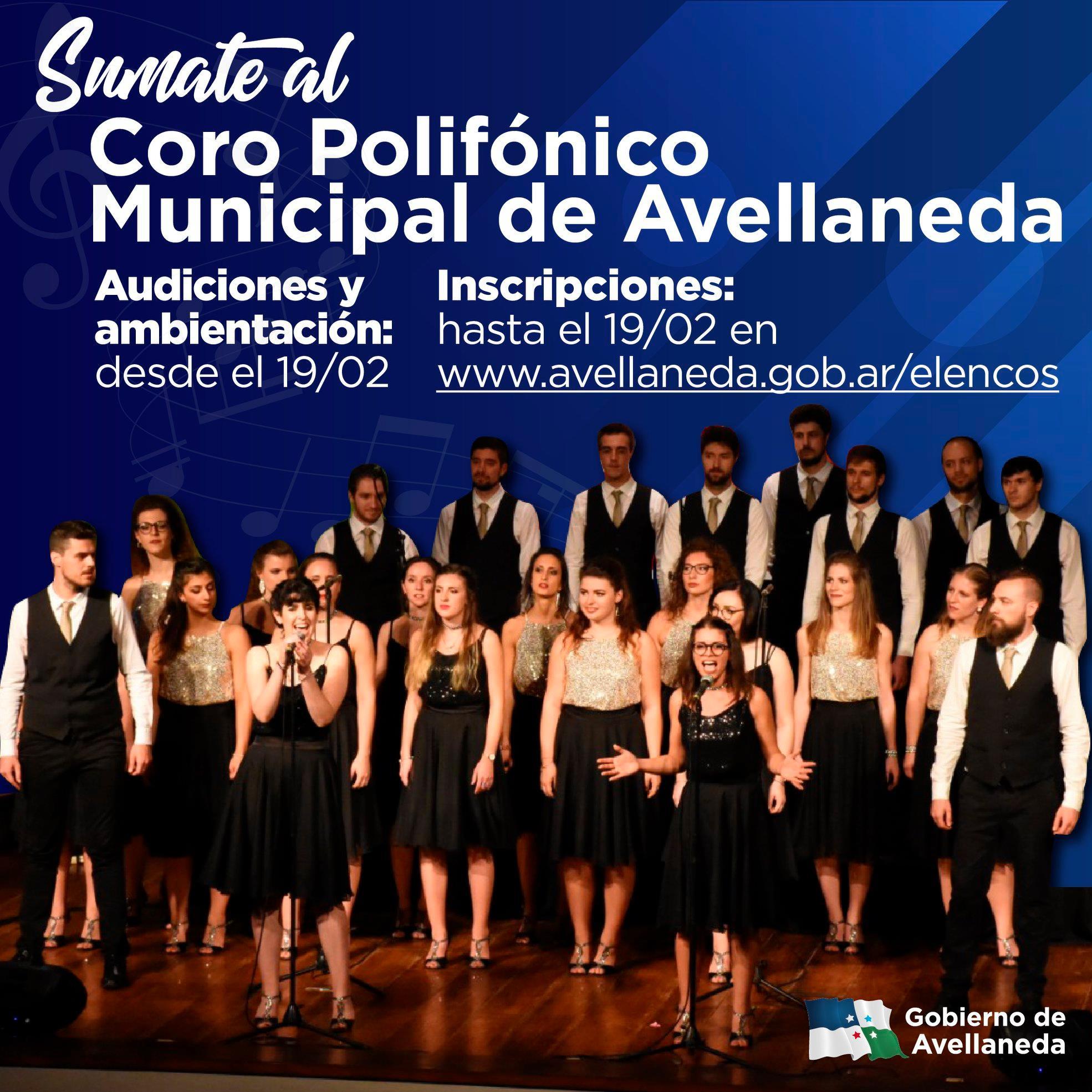 Inscripciones al elenco del Coro Polifónico, el Coro infanto – juvenil, a la Banda de música y/o Orquesta Municipal