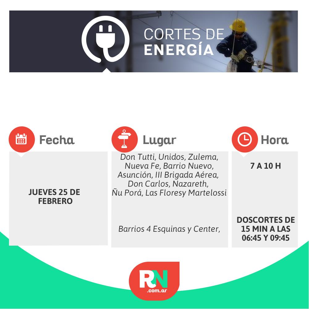 Cortes de energía para este jueves en barrios de Reconquista