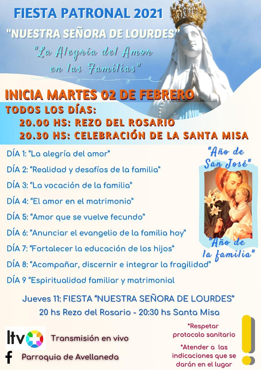 Mañana martes comienza la Fiesta Patronal Nuestra Señora de Lourdes