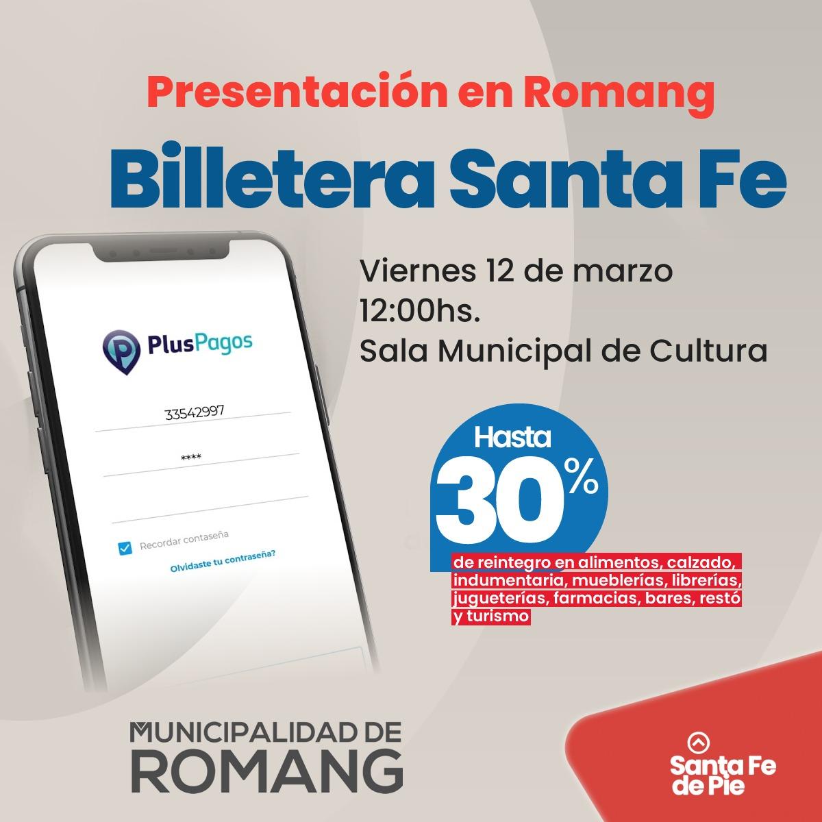 """Presentación oficial de """"Billetera Santa Fe"""" en Romang"""