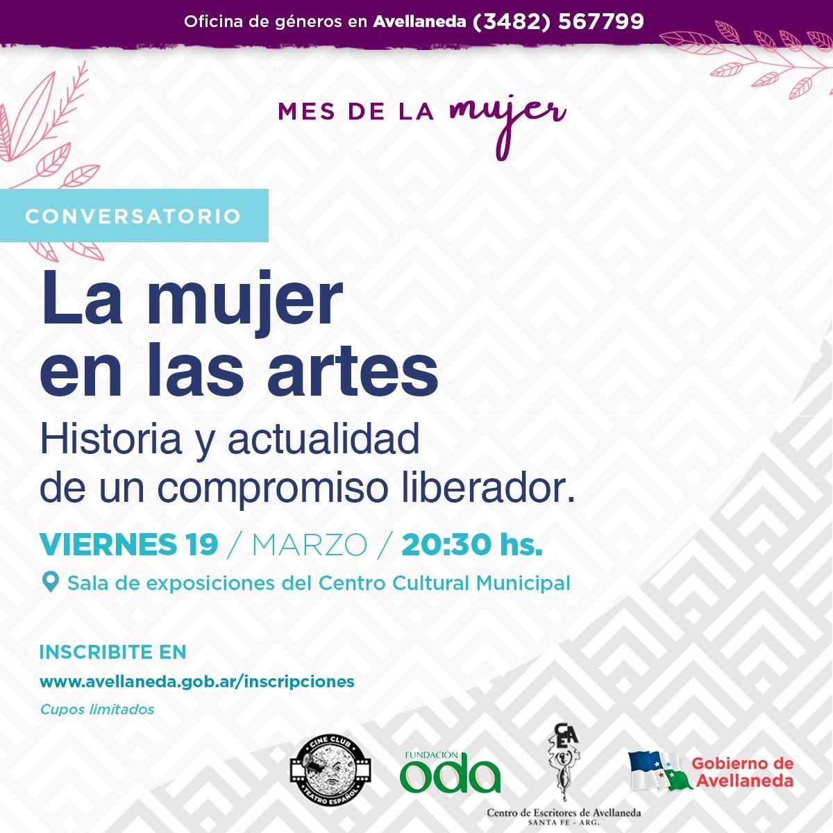 """Mes de la Mujer en Avellaneda: sumate al conversatorio """"La Mujer en las Artes"""""""
