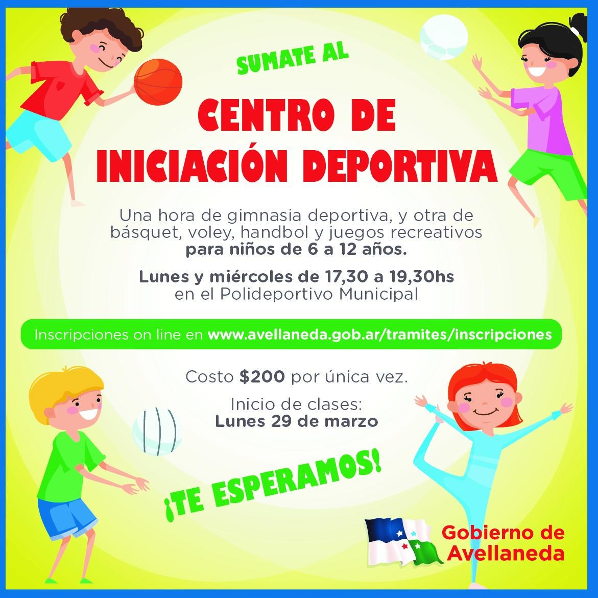 Inscripciones para participar del Centro de Iniciación Deportiva