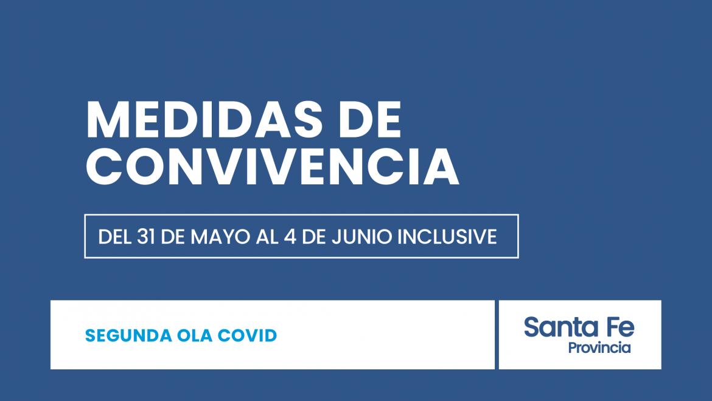 Medidas de convivencia que regirán a partir de hoy 31 de mayo en la provincia de Santa Fe