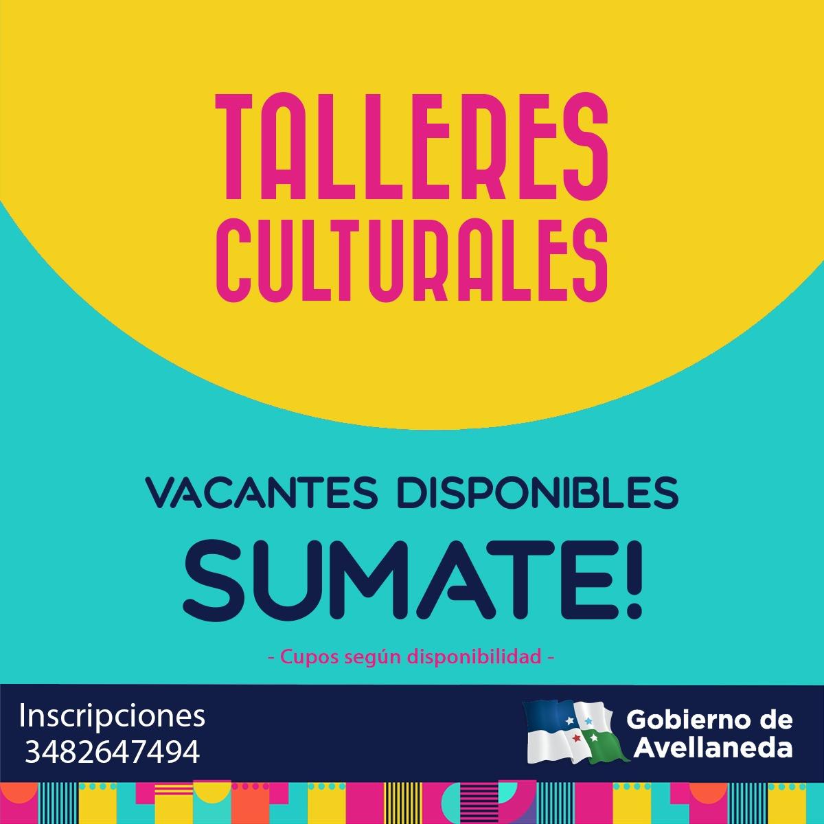 Talleres Culturales en Avellaneda: cupos vacantes