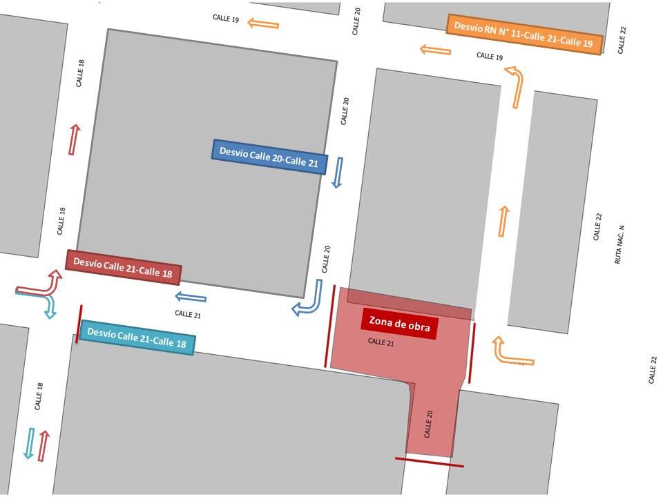Este sábado 5 de junio se clausurará Calle 21, entre Calle 18 y el ingreso – egreso de colectivos a la Estación de los mismos