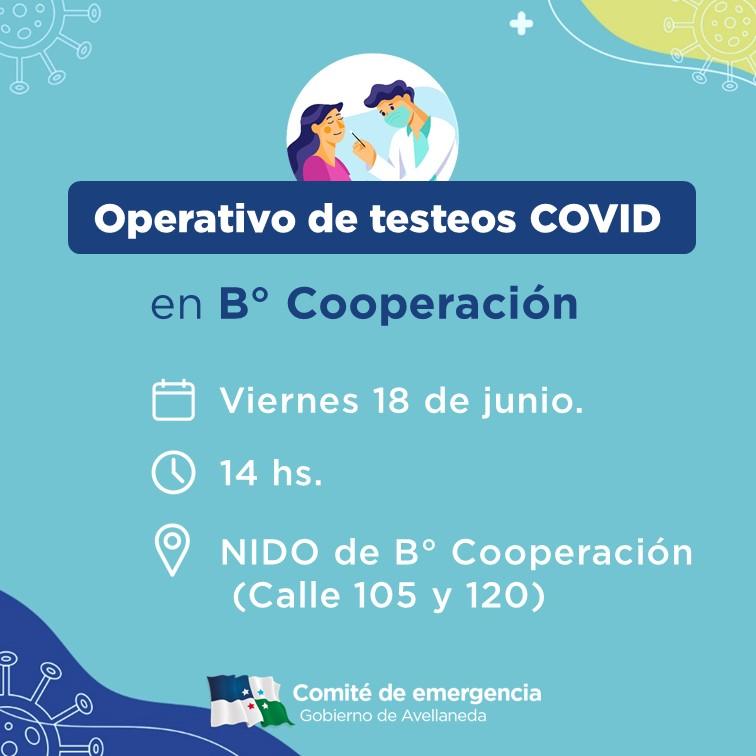 Operativo COVID: se harán testeos en B° Cooperación de Avellaneda
