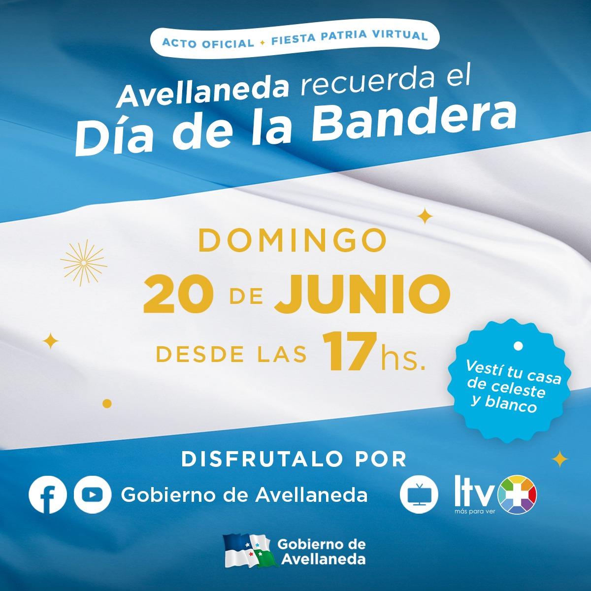 Avellaneda recordará el Día de la Bandera y su creador con una Fiesta Patria virtual