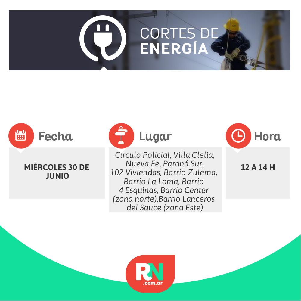 Corte de energía para este miércoles 30 de junio en un sector de Reconquista