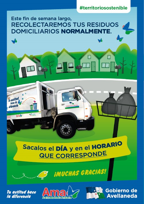 Cronograma de recolección de residuos durante el fin de semana largo en Avellaneda