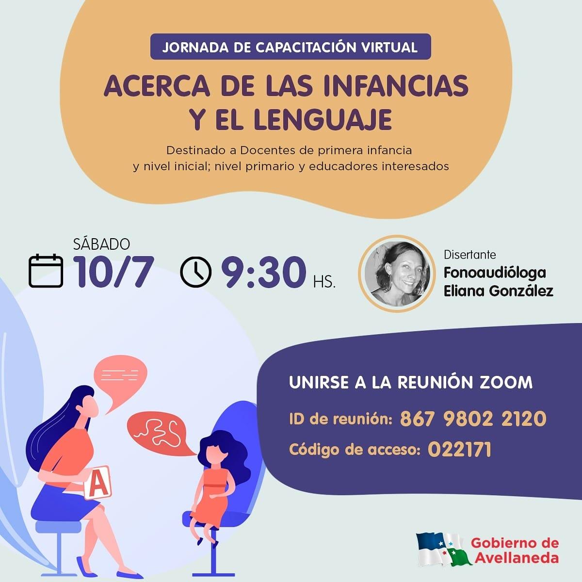 """Jornada de Capacitación Virtual """"Acerca de las infancias y e lenguaje"""" en Avellaneda"""
