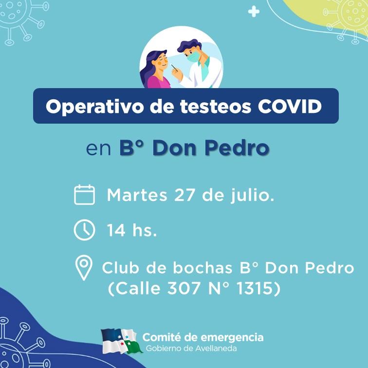 COVID: habrá testeos en Bº Don Pedro la semana próxima