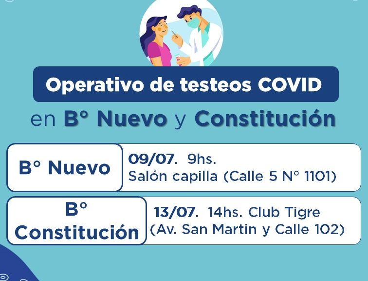 COVID: nuevos operativos de testeos en B° Nuevo y Constitución de Avellaneda